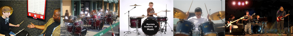 Photos of students learning and playing drums solo and in bands.