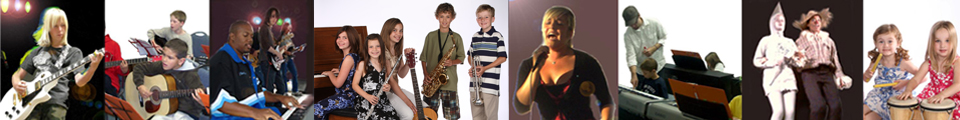 Photos of students singing and playing guitar, piano, saxophone, trumpet, drums, and performing musical theatre.
