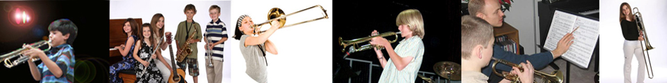 Photos of students learning and playing trumpet and trombone.