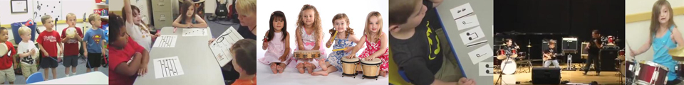 Photos of young students doing music classes and performing.